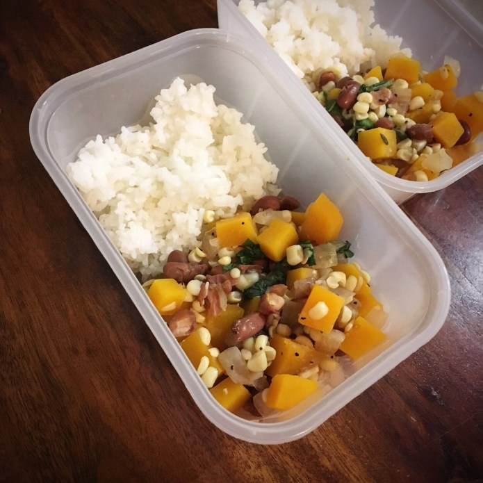 Summer Stew Over Rice with Butternut Squash, Pinto Beans, Corn, Basil and Spices