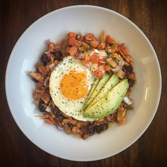 Chili for Breakfast with Chicken, Fried Egg, Pico and Avocado