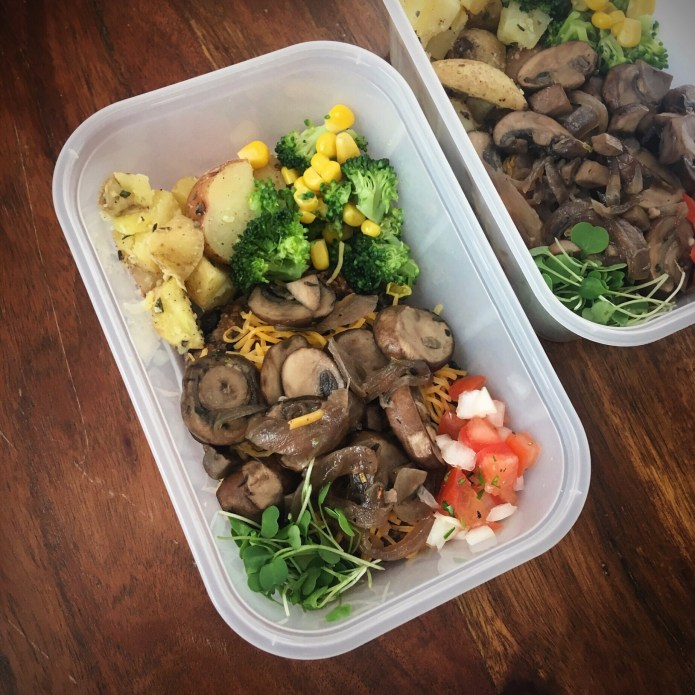 Black Bean Mushroom Burger Meal Prep with Cheese, Microgreens, Pico de Gallo, Potatoes, Broccoli, and Corn
