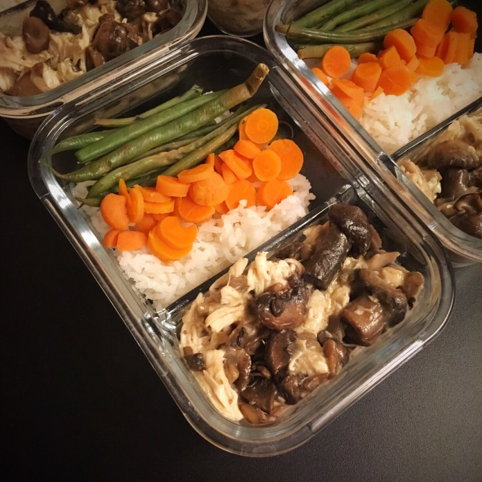 Mushroom Chicken Meal Prep with Rice, Green Beans, and Carrots
