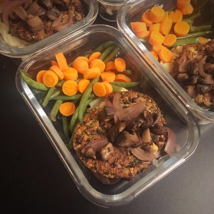 Black Bean Mushroom Burger over Mashed Potatoes with Carrots and Green Beans