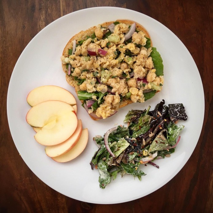Chickpea Smash on Toast, with Salad, and Half an Apple