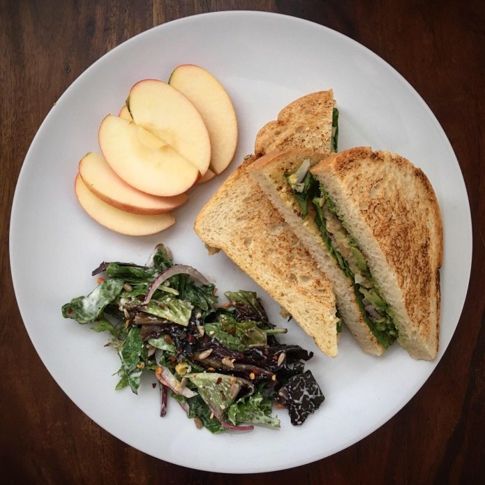 Chickpea Smash Sandwich, with Salad and Half an Apple
