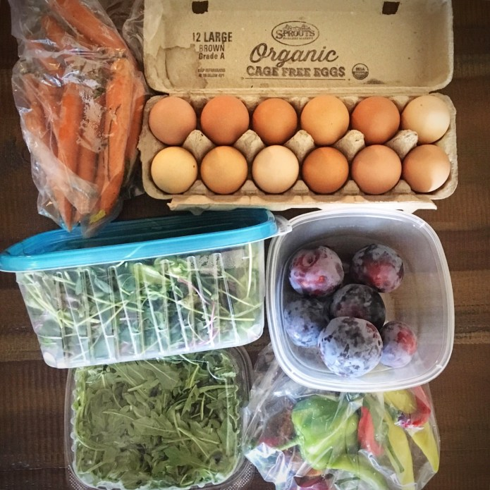 CSA Box Number 2 with Eggs, Carrots, Salad Greens, Arugula, Peppers