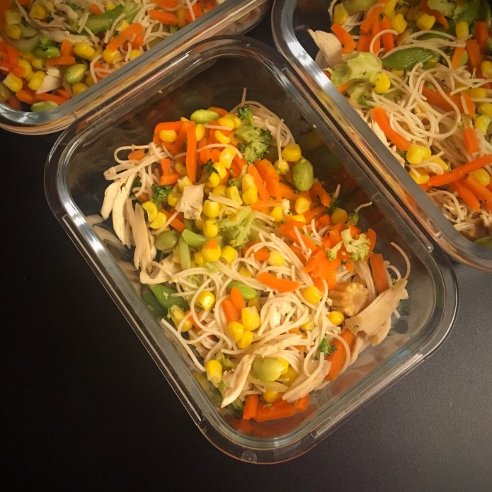 Stir Fry with Noodles, Chicken, Carrots, Corn, Edamame, and Broccoli