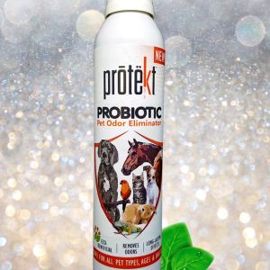 Protekt Pet Odor Eliminator 200 milliliter image of product with sparkling background and green dewy leaves
