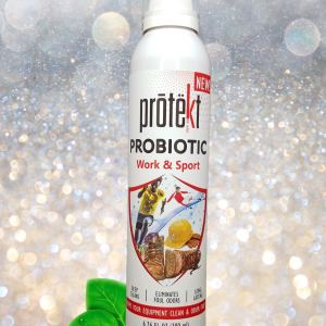 Protekt Work and Sport Spray 200 milliliter image of product with sparkling background and green dewy leaves