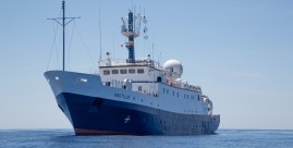 "The Exploration Vessel (E/V) Nautilus is a 211 foot former East German ""fishing boat"" fully outfitted for scientific exploration. Image Credit: OET/Nautilus Live"
