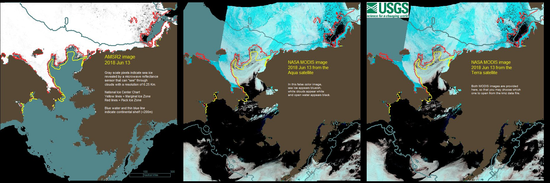 Daily Ice Mail Map for June 13, 2018, compiled from satellite images (Aqua and Terra) and charts created by National Ice Center. Image Credit: Anthony Fischbach for USGS