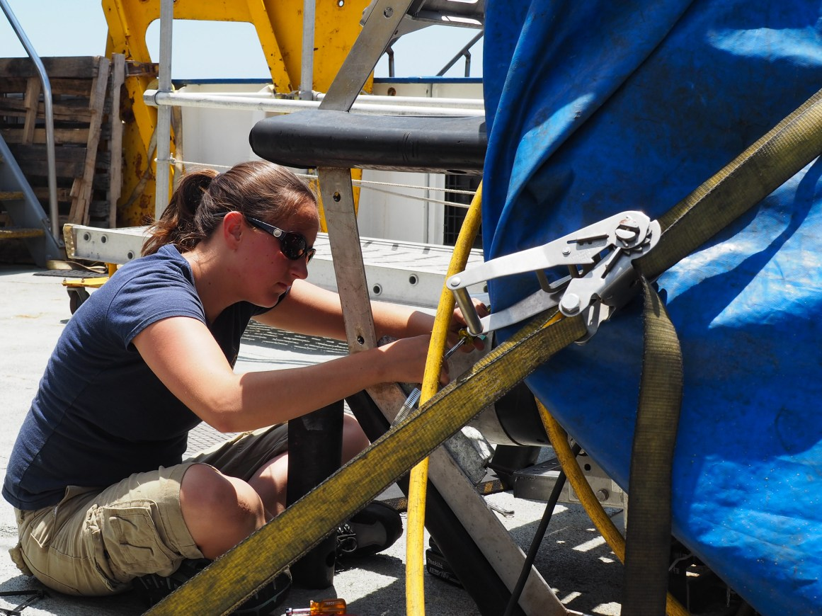 Wendy Snyder repairing Argus's frame. Wendy is a graduate student at University of Rhode Island Graduate School of Oceanography; she is working on low power inertial navigation systems for glider type underwater autonomous vehicles (AUVs).