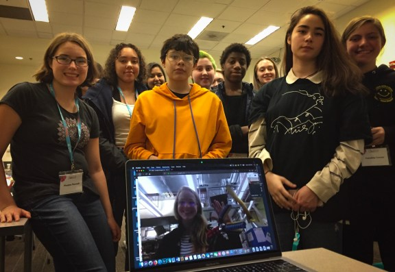 Kaitlyn Becker gave students a tour of her robotics lab at Harvard. Image Credit: Jenny Woodman
