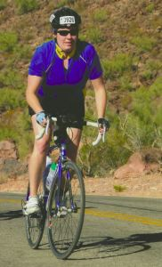 Here is Tina on the El Tour de Tucson – Cycling Ride / Race (Climbing a Hill)