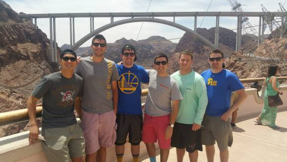 See photo attached. The photo was of my our group of friends from HS at our friend Ryan's bachelor party in Vegas (we saw the Hoover Dam one day). 2nd farthest to the right (seafoam long sleeve)