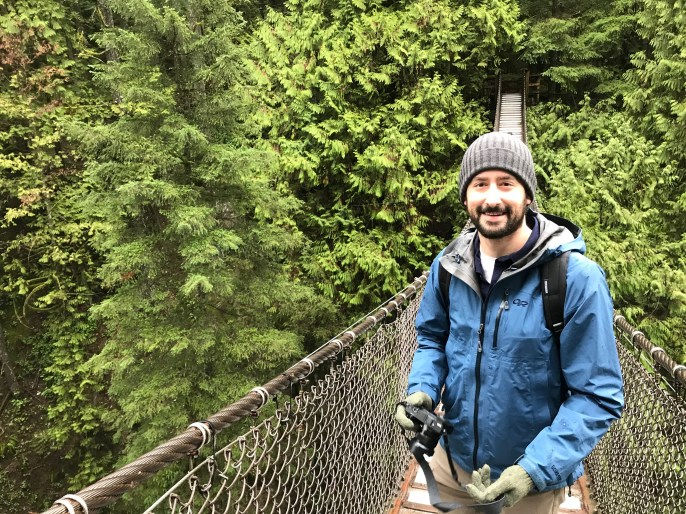 Alex hiking near Vancouver, BC earlier this year