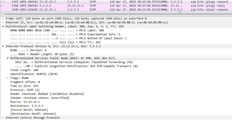 MPLS label imposition wireshark