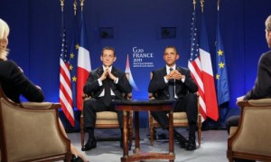 Los Presidente Obama y Sarkozy en el G20