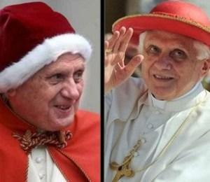 Benedicto XVI con camauro y  Saturno
