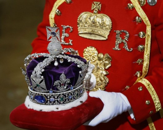 The Imperial State Crown is carried on a