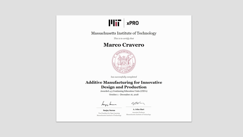 protocube reply certificazione MIT stampa 3D
