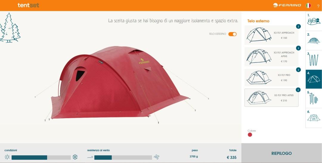 Nuovo configuratore 3D Ferrino Tent Set features