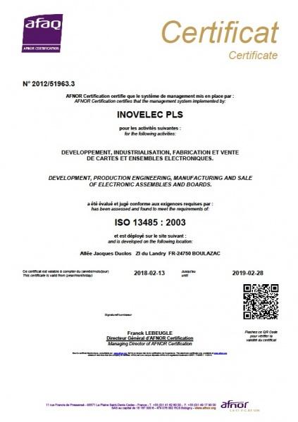 ISO13485 Médical INOVELEC PROTOLAB