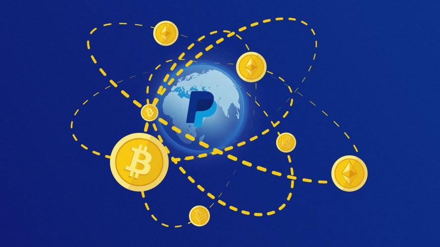 PayPal logo in a picture of the Earth surrounded by gold Bitcoin symbols
