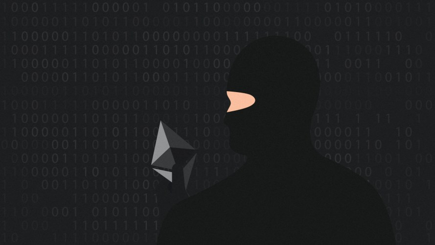Crypto hackers are targetting DeFi platforms and this thief is holding an Ethereum logo.