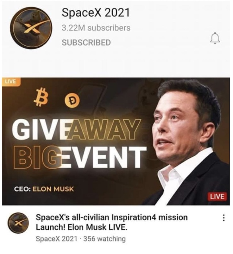 The PUBG Mobile E-Sports livestream was replaced with Elon Musk's face and a fake Bitcoin giveaway scam