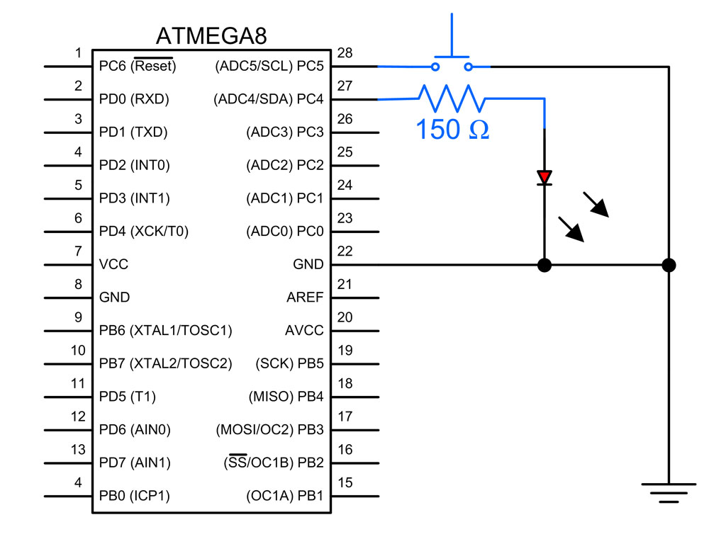 hight resolution of atmega8 switch and led