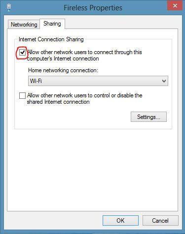 Capture d'écran - Onglet Partage des propriétés de la connexion réseau sans fil ad-hoc sous Windows 8