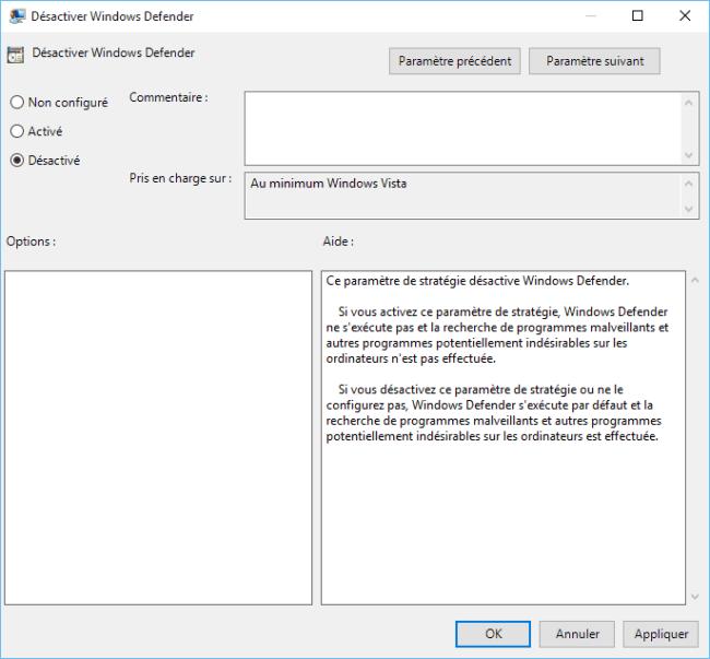 Capture d'écran - Désactiver Windows Defender