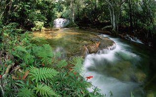 Fonte de águas e cascata, Serra de Bodoquena no Mato Grosso, Bra
