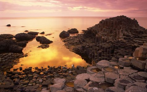 Basalt Columns of Giant's Causeway at Sunset, County Antrim, Northern Ireland