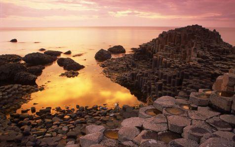 Basalt Columns of Giant's Causeway at Sunset, County Antrim, Northern Ireland