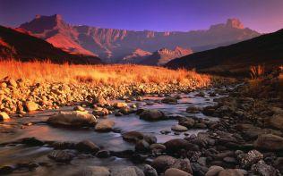 Drakensberg and Tugela River at Sunset, Royal Natal National Park, South Africa