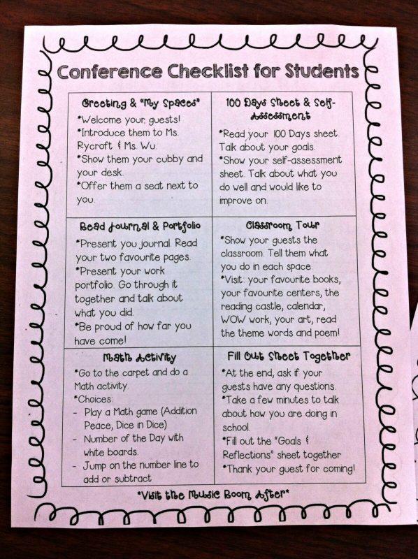 student portfolios - conference checklist