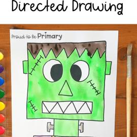 Frankenstein Halloween Directed Drawing Art Activity for Kids