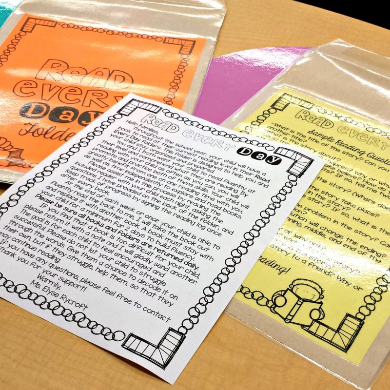 setting up a classroom and home reading program - read every day folders