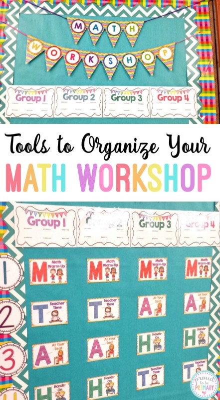 Organize your classroom math block using a math workshop toolkit. With these tools you will have what you need to set up a rotation bulletin board, create daily plans for your lessons and activities, and more.