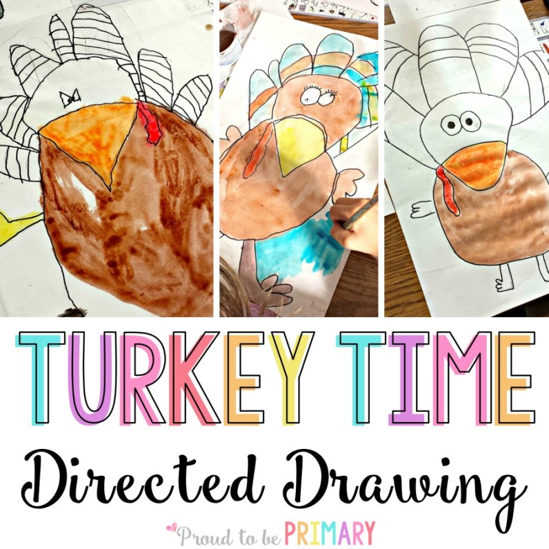 turkey drawing - directed drawing for thanksgiving