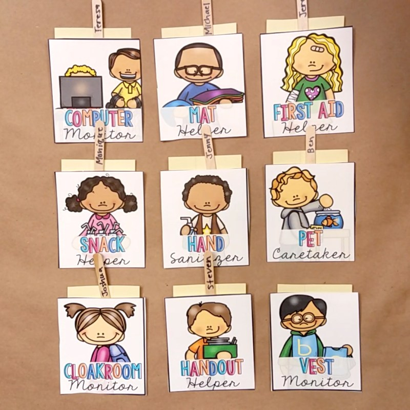 classroom jobs for a classroom management strategy