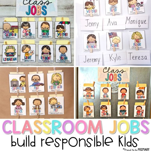 classroom jobs options for classroom management