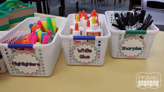 first grade teacher tips - storage bins