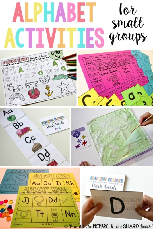 A post for teachers that is jam-packed with alphabet activities for preschool and Kindergarten kids. These ideas are great for small group guided reading, literacy centers, or for extra practice at home. Activities include alphabet videos, flash cards, bingo, and more. Grab the FREE printable resource today!
