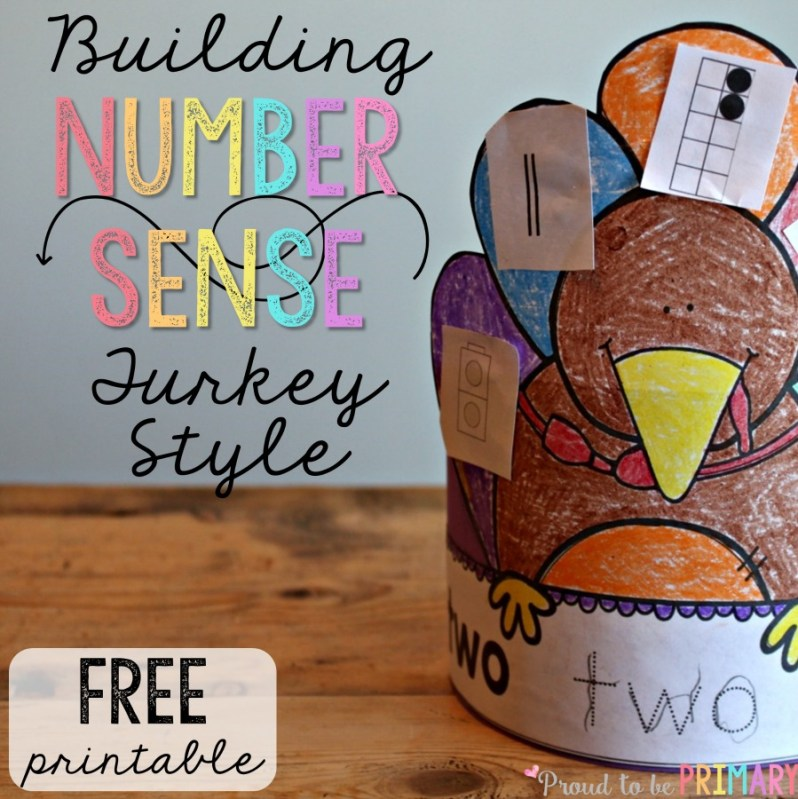 Need a fun math activity for fall that builds number sense? These adorable building number sense turkeys are the perfect activity for Thanksgiving in the classroom. Cut the different number representations, paste them on the turkey feathers, and create a turkey hat! Grab this FREE activity today!