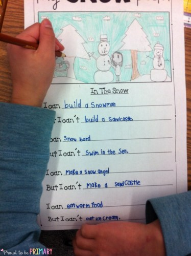 Teachers will enjoy teaching this snow poetry writing activity where they must come up with some funny ideas about winter. The post is perfect for primary students and includes a FREE writing template.