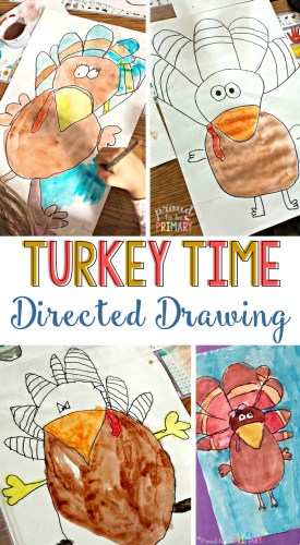 Do you love teaching your students how to draw with directed drawings? Create the most vibrant bulletin board display with the Thanksgiving turkey time art activity that is great for kids in elementary.