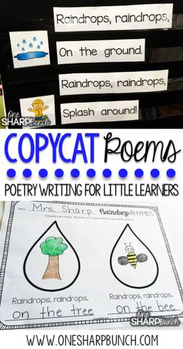 One Sharp Bunch's spin off poems to help teach poetry writing to little learners
