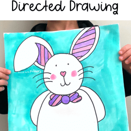 Easter Bunny Directed Drawing Art Activity for Kids