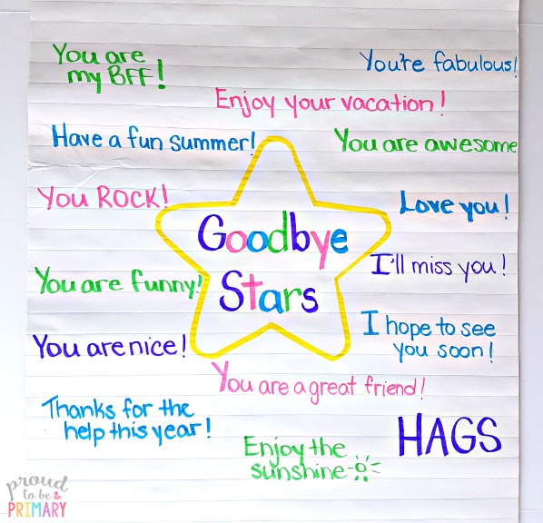 last day of school activity: goodbye stars anchor chart of ideas